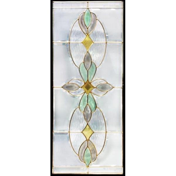 ステンドグラス (SH-K01N) 913×400×18mm デザイン ピュアグラス Kサイズ (約11kg) 一部鏡面ガラス ※代引不可