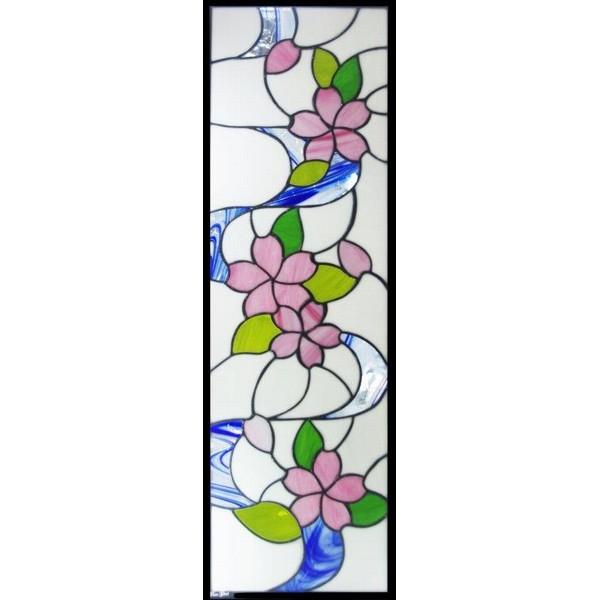 ステンドグラス (SH-L05) 927×289×18mm デザイン ピュアステンド 桜 (約8kg) ※代引不可
