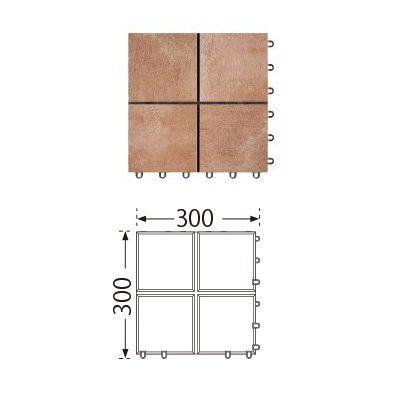 TOTO ベランダタイル バーセア MU02/150 ベイクシェンナ [10枚セット] 300角 ジョイントタイル バルコニー 屋外用 AP15MU02UFJ