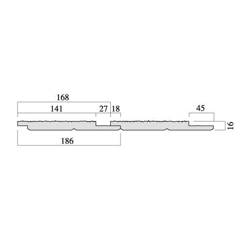 レッドシダー 木製外壁材 サイディング 内装外壁 木材パネル・チャネルサイディング 約16×168mm×乱尺(1820〜4880mm)(5.6kg)【節付】【平米単位での販売】CH-16168