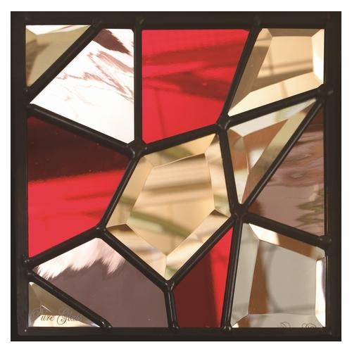 ステンドグラス (SH-D23) 一部鏡面ガラス 200×200×18mm デザイン モザイク ピュアグラス (約1kg) ※代引不可
