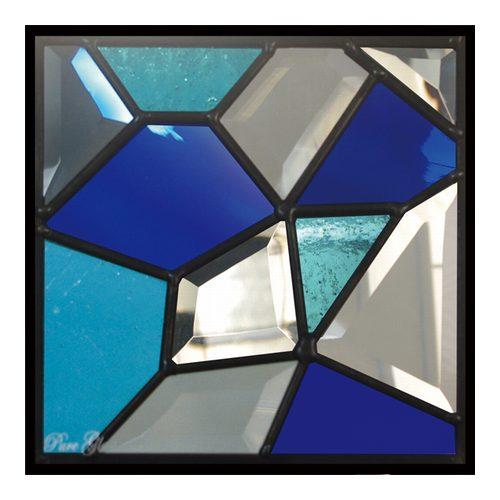 ステンドグラス (SH-D24) 一部鏡面ガラス 200×200×18mm デザイン モザイク ピュアグラス (約1kg) ※代引不可