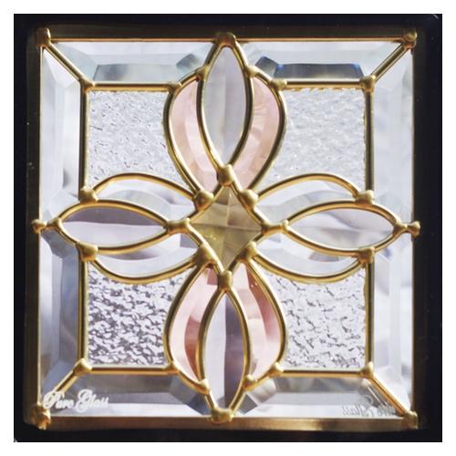 ステンドグラス (SH-D25) 一部鏡面ガラス 200×200×18mm デザイン アンティーク クロス ピュアグラス (約1kg) ※代引不可