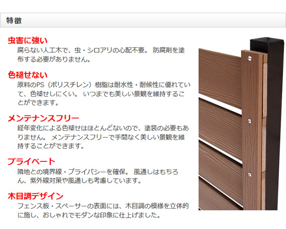 樹脂製 目隠しフェンス ロワール 【790用 コーナー支柱】 幅60×奥行き60×高さ1040mm