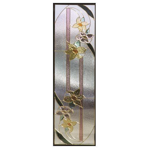 ステンドグラス (SH-B10) 一部鏡面ガラス 1625×480×20mm 花 Bサイズ (約24kg) ※代引不可 メーカー在庫限り