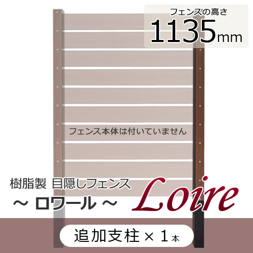 樹脂製 目隠しフェンス ロワール 【1135用 追加支柱】 幅60×奥行き80×高さ1485mm
