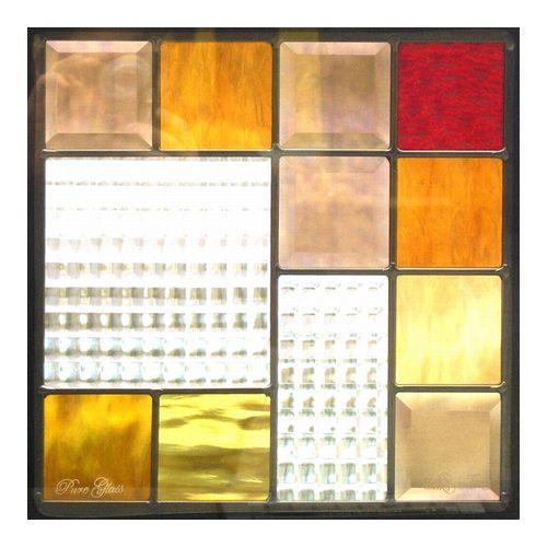 ステンドグラス (SH-E03) 300×300×18mm デザイン ピュアグラス Eサイズ (約3kg) ※代引不可