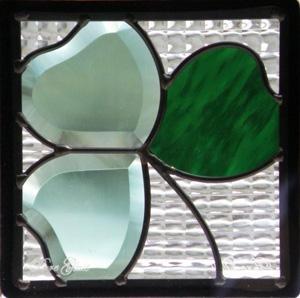 ステンドグラス (SH-D13) 200×200×18mm トランプ モダン ピュアグラス Dサイズ (約1kg) メーカー在庫限り ※代引不可