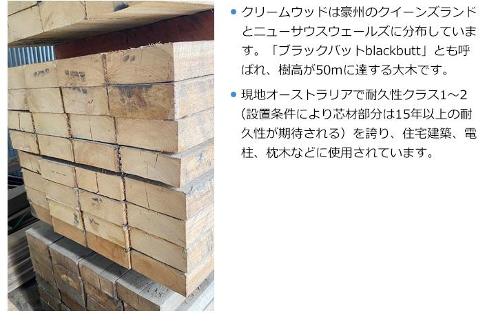 豪州産新品枕木 高耐久ユーカリ・クリームウッド T100×W200×L2000mm (約40kg)【要-荷下し手伝】