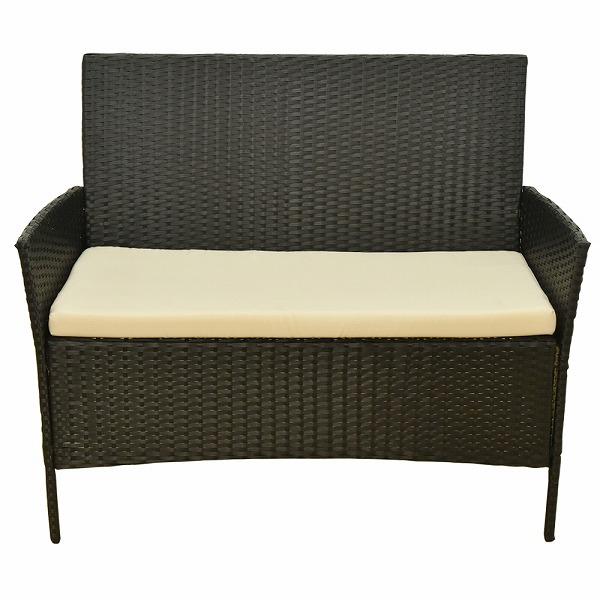 ガーデンテーブル・ソファー 4点セット ラタン調 ルナーレ 黒 ブラック