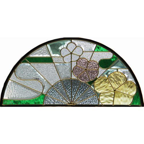 ステンドグラス (SH-K12) 325×650×18mm 半円形 デザイン 和柄 ピュアグラス Kサイズ (約7kg) メーカー在庫限り ※代引不可