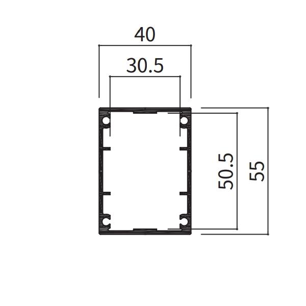 アルミ支柱40×55角 養生シール付 t1.5mm 40×55×2100〜3000mm