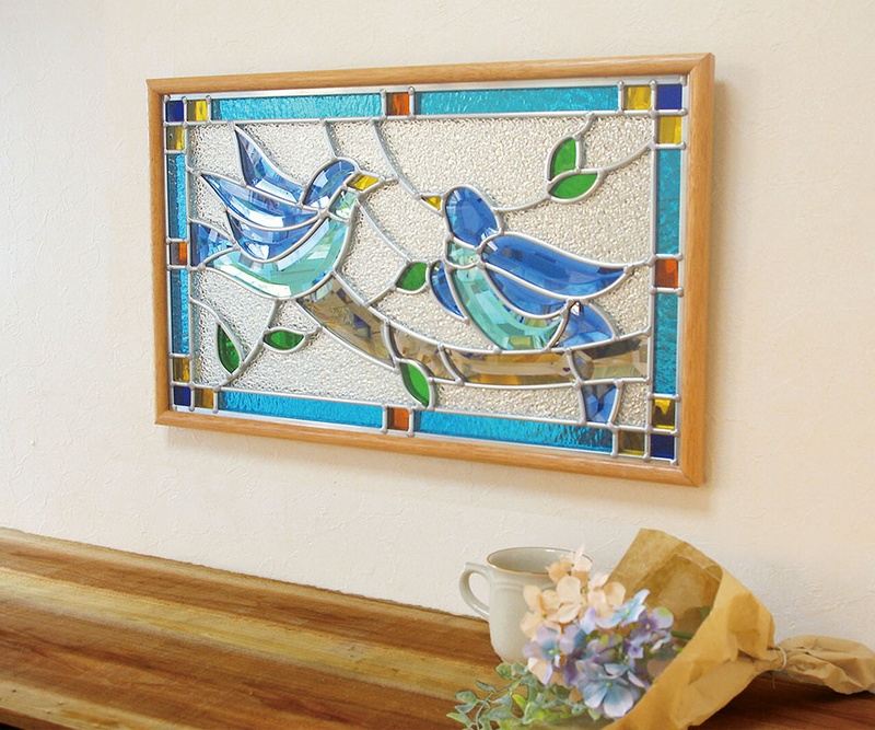 ステンドグラス 壁掛け 幸せの青い鳥 フレーム:クリア (SH-PR01) 幅524×高さ333mm ミラーステンドグラス 額付き ※代引不可