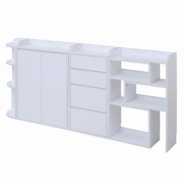 ラック カウンター下収納 フルセット ホワイト色 yhk-0204fullset-wh キッチン ダイニング 収納