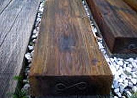 国産杉 新品ACQ枕木(中古風枕木)・ブラウン約100×約200×2000mm(15.0kg)