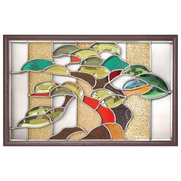 ステンドグラス 壁掛け 松 フレーム:ブラウン (SH-PR02) 幅524×高さ333mm ミラーステンドグラス 額付き ※代引不可