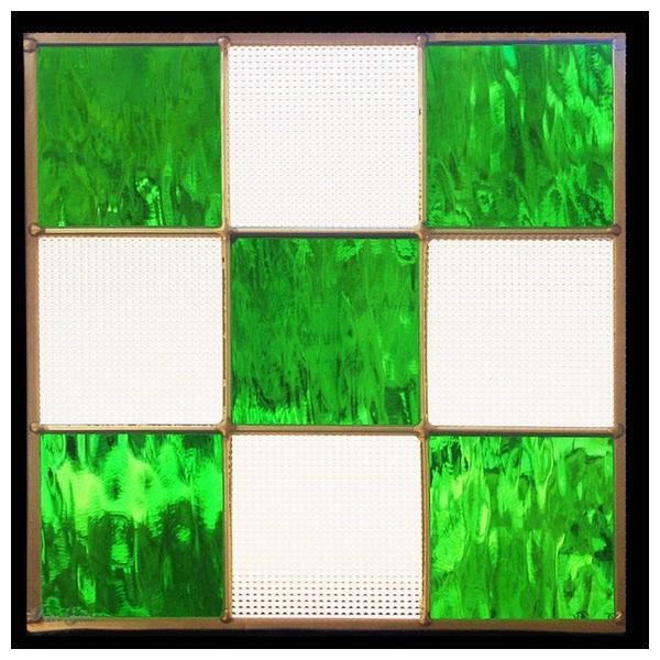 ステンドグラス (SH-E115) 300×300×18mm デザイン 幾何学 ピュアグラス (約3kg) メーカー在庫限り ※代引不可