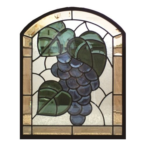 ステンドグラス (SH-K08) 一部鏡面ガラス 500×400×18mm 葡萄 ピュアグラス Kサイズ (約6kg) メーカー在庫限り ※代引不可
