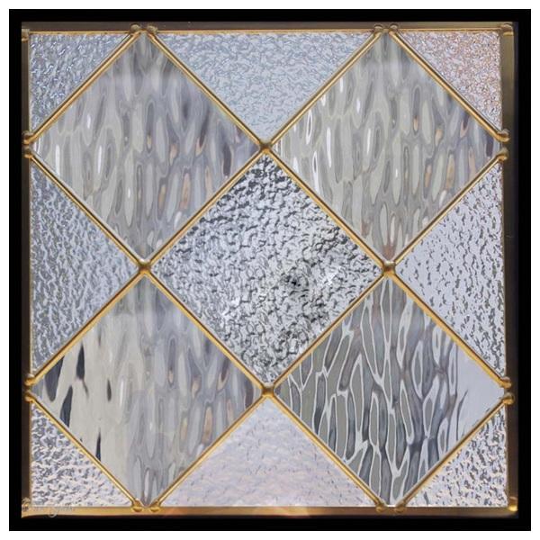 ステンドグラス (SH-E121) 300×300×18mm デザイン 幾何学 ピュアグラス (約3kg) メーカー在庫限り ※代引不可