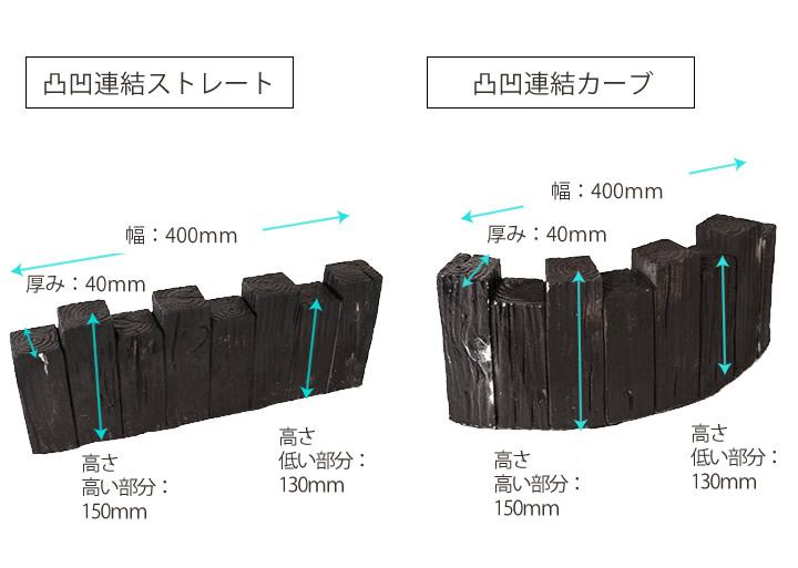 枕木調 花壇ブロック 凹型 W450mm×D115mm×H220mm (約9.0kg)