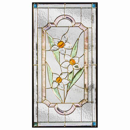 ステンドグラス (SH-A17) 913×480×18mm デザイン ピュアグラス 水仙 Aサイズ (約13kg) ※代引不可 メーカー在庫限り