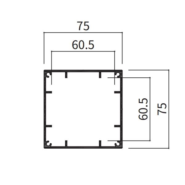 アルミ支柱75角 養生シール付 t1.5mm 75×75×100〜1000mm