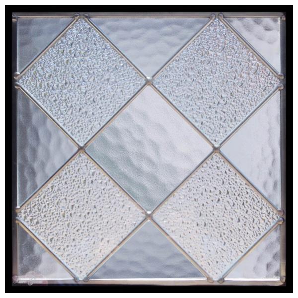 ステンドグラス (SH-E122) 300×300×18mm デザイン 幾何学 ピュアグラス (約3kg) メーカー在庫限り ※代引不可