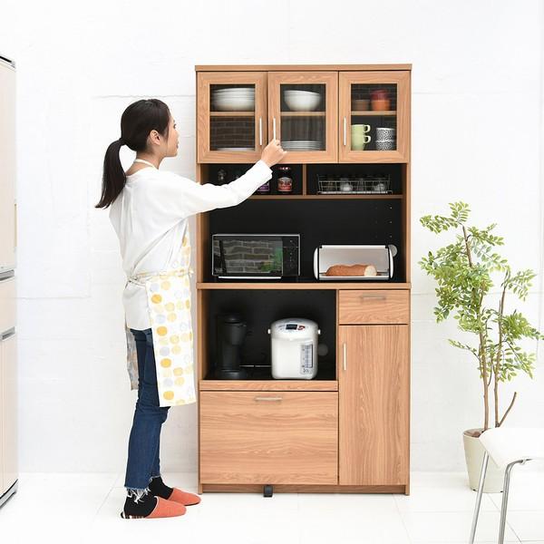 レンジ台 幅90 (FAP-0018-NABK) Keittio レンジボード キッチン 食器棚 収納 北欧風 木目調