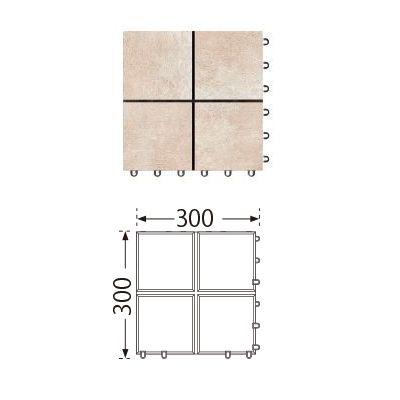 TOTO ベランダタイル バーセア MU01/150 ベイクベージュ [単品] 300角 ジョイントタイル バルコニー 屋外用 AP15MU01UFJ