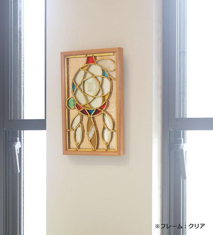 ステンドグラス 壁掛け ドリーム・キャッチャー フレーム:ブラウン (SH-PS02) 幅221×高さ343mm ミラーステンドグラス 額付き
