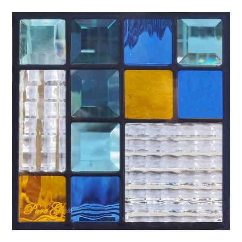 ステンドグラス (SH-D20) 200×200×18mm デザイン モダン ピュアグラス Dサイズ (約1kg) ※代引不可