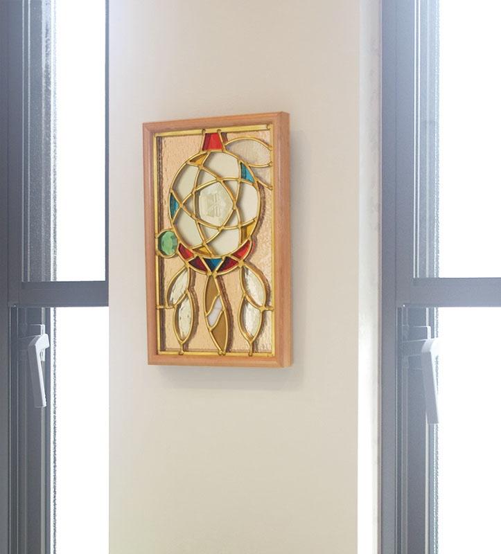 ステンドグラス 壁掛け ドリーム・キャッチャー フレーム:クリア (SH-PS02) 幅221×高さ343mm ミラーステンドグラス 額付き