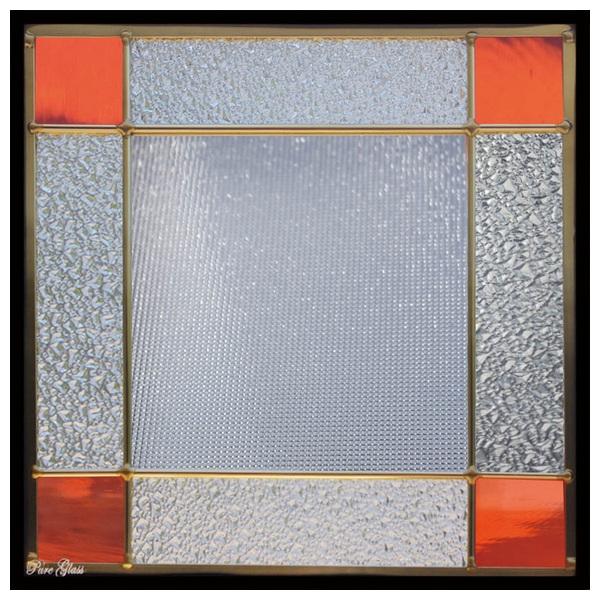 ステンドグラス (SH-E132) 300×300×18mm デザイン 幾何学 ピュアグラス (約3kg) メーカー在庫限り ※代引不可