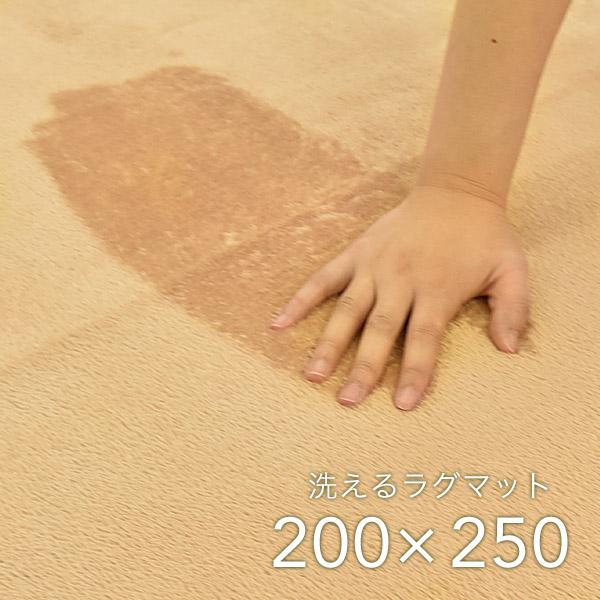 ラグ 200×250cm ベージュ 洗える ホットカーペット 対応 軽量 デイジー