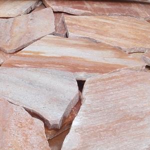 クォーツサイト 乱形石(ピンク) ブラジル産 厚み10〜25mm/1平米/約42kg|石英岩 敷石 【要-荷下し手伝】