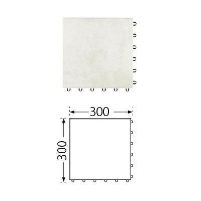 TOTO ベランダタイル バーセア MU04/300 ベイクホワイト [単品] 300角 ジョイントタイル バルコニー 屋外用 AP30MU04UFJ