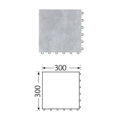 TOTO ベランダタイル バーセア MU05/300 ベイクグレー [単品] 300角 ジョイントタイル バルコニー 屋外用 AP30MU05UFJ