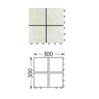 TOTO ベランダタイル バーセア MU04/150 ベイクホワイト [単品] 300角 ジョイントタイル バルコニー 屋外用 AP15MU04UFJ