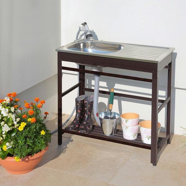 ガーデンシンク 流し台 屋外 水切り 簡単設置 庭 ガーデニング アルミ流し台75 AND-75