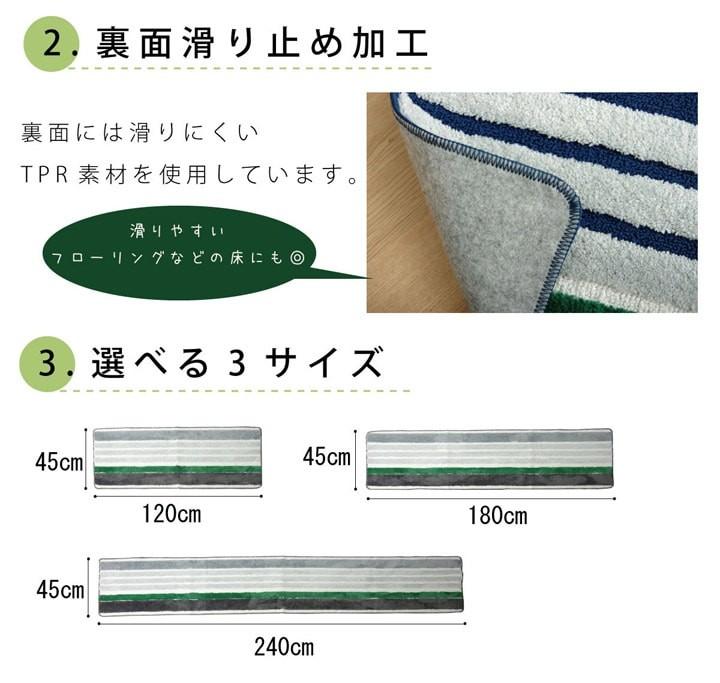 キッチンマット マイクロボーダー 45×180cm 2046129 2046029 抗菌