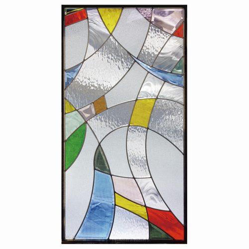 ステンドグラス (SH-A12) 一部鏡面ガラス 913×480×18mm デザイン ピュアグラス Aサイズ (約13kg) ※代引不可