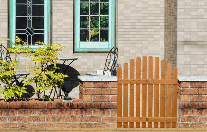 フラワースタンド 2段 コーナーフェンス 棚付き 木製 ブラウン ストライプフェンス 花台 フェンスになる ピケットフェンス 山型 ガーデニング 庭 屋外