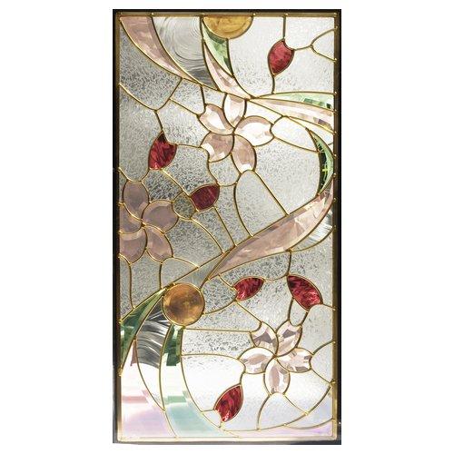 ステンドグラス (SH-A41) 一部鏡面ガラス 913×480×18mm デザイン 桜 ピュアグラス Aサイズ (約13kg) ※代引不可