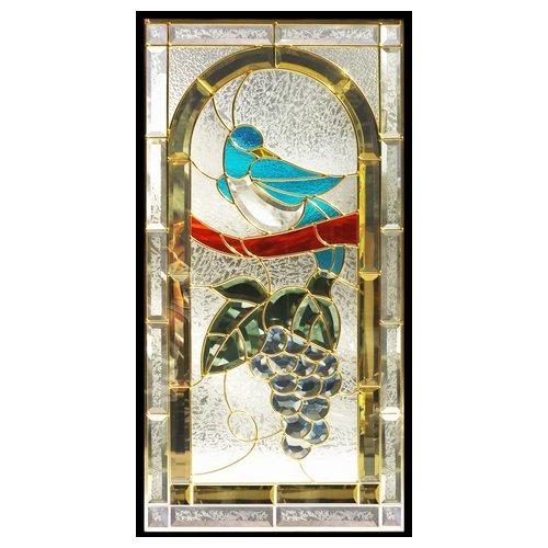 ステンドグラス (SH-A42) 一部鏡面ガラス 913×480×18mm 鳥 葡萄 ブドウ ピュアグラス Aサイズ (約13kg) ※代引不可