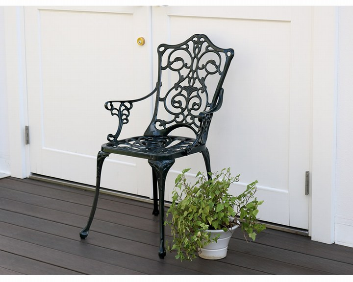 5月下旬入荷予定 ガーデンチェア 肘付き アルミ製アームチェア トルペ アイボリーホワイト 単品 (ALT-CH-WHT) ※北海道+1100円