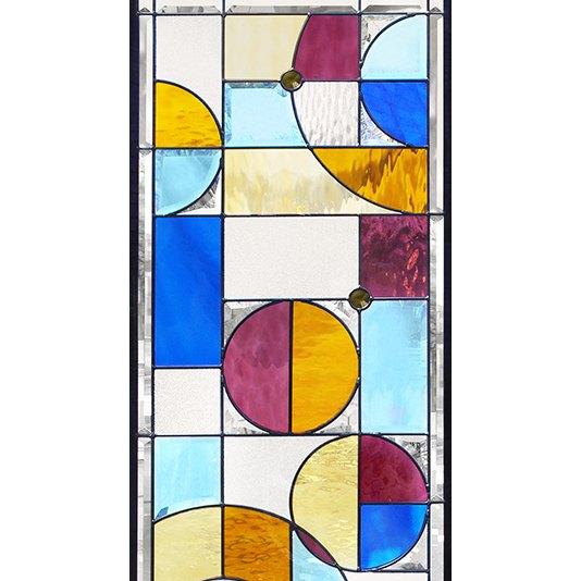 ステンドグラス (SH-B24) 1625×480×20mm 一部鏡面ガラス 幾何学 ピュアグラス Bサイズ (約24kg) ※代引不可