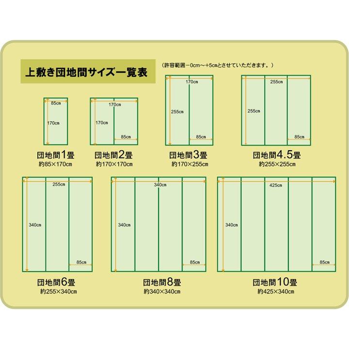 上敷き 8畳 湯沢 団地間8畳 (340×340cm) い草 ラグ 国産 (1102708)