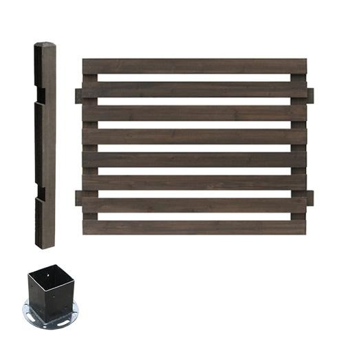 フェンス 木製 ダークブラウン ボーダーフェンス スプレッド(連結セット/平地用) SFBF1000E-HB-DBR ※北海道+5500円