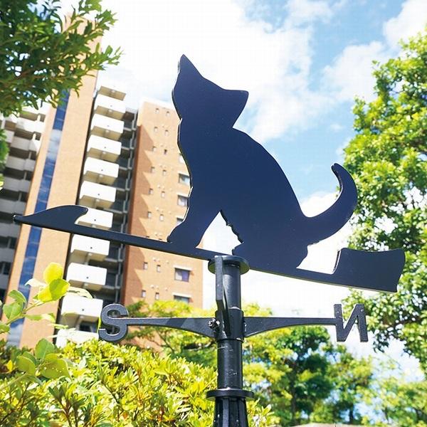 風見鶏 猫 ステンレス製 黒つや消し KZSS-猫2 ※北海道・沖縄+1200円