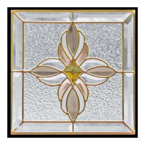 ステンドグラス (SH-E01) 一部鏡面ガラス 300×300×18mm アンティーク調 ピュアグラス Eサイズ (約3kg) ※代引不可